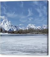 Grand Tetons And Snake River From Oxbow Bend Canvas Print