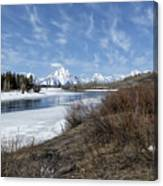 Grand Tetons From Oxbow Bend At A Distance Canvas Print