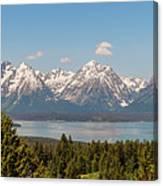 Grand Tetons Over Jackson Lake Panorama Canvas Print