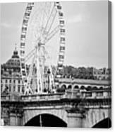 Grande Roue In Paris - Black And White Canvas Print