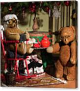 Grandpa And Grandma Teddy Bears' Christmas Eve Canvas Print