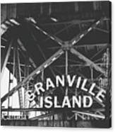 Granville Island Bridge Black And White- By Linda Woods Canvas Print