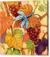 Grapes And Dragonfly Canvas Print