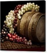 Grapes And Wine Barrel Canvas Print