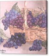 Grapes In Basket Canvas Print