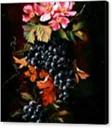 Grapes With Wild Roses Canvas Print