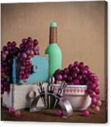 Grapes With Wine Stoppers Canvas Print