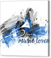 Graphic Art Music Lover - Blue Canvas Print