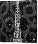 Graphic Art Paris Eiffel Tower - Silver And Grey Canvas Print