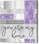 Graphic Art Silver You Are My Home - Violet Canvas Print