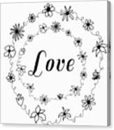 Graphic Black And White Flower Ring Of Love Canvas Print