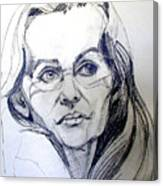 Graphite Portrait Sketch Of A Woman With Glasses Canvas Print