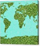 Grass World Map Canvas Print