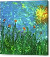Grassland With Orange Flowers Canvas Print