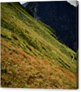 Grassy Before The Top Of The Rocky Hill Canvas Print