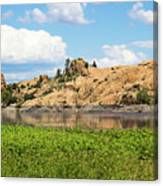 Grassy Shore Of Willow Lake Canvas Print