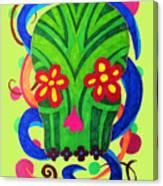 Grassy Skull Transparent Canvas Print