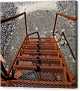 Gravel Pit Grinder Rusty Staircase Canvas Print