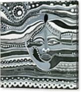 Gray Silk Maya Face In Nature Landscape Abstract Fantasy With Black Grey White Colors Sunset   Canvas Print