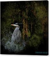 Great Blue Heron On The River Canvas Print