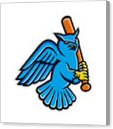 Great Horned Owl Baseball Mascot Canvas Print