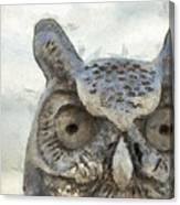 Great Horned Owl Pencil Canvas Print