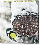 Great Tit In The Snow Card Canvas Print