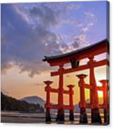 Great Torii Of Miyajima At Sunset Canvas Print