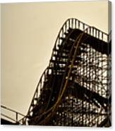 Great White Roller Coaster - Adventure Pier Wildwood Nj In Sepia Triptych 1 Canvas Print