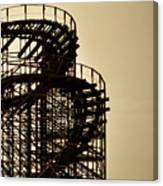 Great White Roller Coaster - Adventure Pier Wildwood Nj In Sepia Triptych 3 Canvas Print