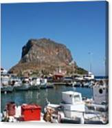 Greece Island Harbor Canvas Print