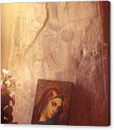 Greece. Lesvos. 16th Century Fresco And Virgin Mary Icon Canvas Print