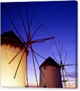 Greece. Mykonos Town. Illuminated Windmills At Dusk. Canvas Print