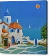 Greek Blue Santorini A Greek Fairytale Canvas Print