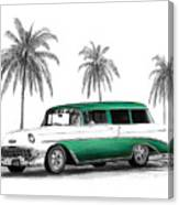 Green 56 Chevy Wagon Canvas Print
