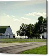 Green And White Farm Canvas Print