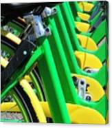 Green And Yellow Bicycles Canvas Print
