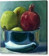 Green Apples And A Pomegranate Canvas Print