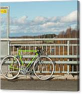 Green Bicycle On Bridge Canvas Print