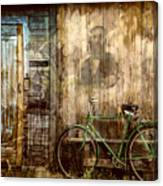 Green Bike Crooked Door Canvas Print