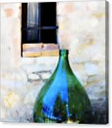 Green Bottle Italian Window Canvas Print