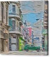 Green Car In Cuba Canvas Print