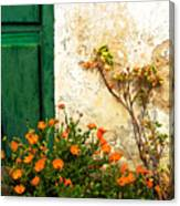 Green Door - Orange Flowers Canvas Print