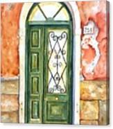 Green Door In Venice Italy Canvas Print