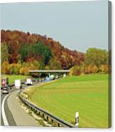 Green Field And Autumn Color Road Canvas Print