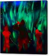 Green Flames In The Night Canvas Print