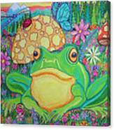 Green Frog With Flowers And Mushrooms Canvas Print