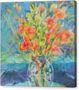 Green Glads Coral Glads Canvas Print
