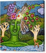 Green Goddesswith Waterfall2 Canvas Print