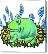 Green Happy Frog Canvas Print